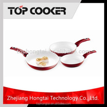 Red 3-pieces Nonstick Easy Cooking White Ceramic Coating Fry Pan