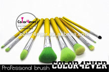 Eco friendly Top quality 9pcs animal hair bamboo makeup brushes set made in china