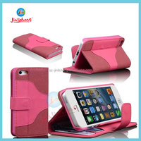 High Quality leather belt clip flip wallet case for iphone 5 made in china