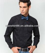 latest 100% cotton black popular long sleeve slim fit dress tuxedo shirt for men