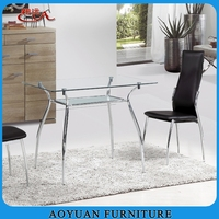 hot sale chrome frame glass top dining table