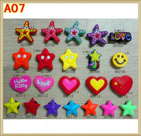 Wholesale Colorful Heart, Star Silicone Buckle Jibbitz For Kids Crocs Shoe Decoration