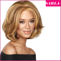 Wholesale African American Short Hairstyles Wigs for Black Women Synthetic Heat Resistant Fiber Wavy Natural Honey Blonde U Part
