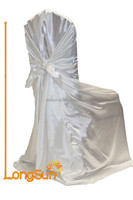 Wedding decoration round back satin chair cover