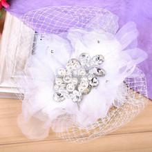 New Fashion Handmade Beautiful Rhinestone Feather Lace Flower Hairgrips Engagement Bride Jewelry Accessary