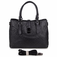 7261A Unisex Woven Vintage Leather Black Trend Leather Handbag