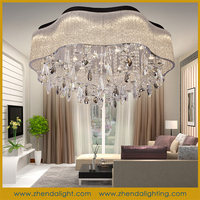 2015 new led crystal ceiling light & pendant chandelier with splendid twisted glass pipes shade