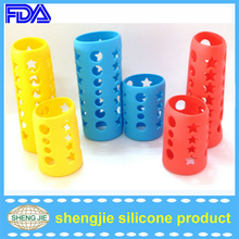 Eco-friendly fad approved water bottle cover manufacturer non skid silicone feeding bottle sleeves