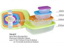 colorful 4pcs plastic food container, plastic storage box