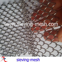 Silver color architectural stainless steel mesh, metallic wire cascade coil drapery