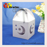 laser cut moon & star cupcakes packaging box candy chocolate valentine packaging box with ribbon wholesale 100pcs/lot