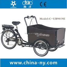 2014 hot sale three wheel 24 inch/6 speeds Electric Cargo Bike/bakfiets/cargobike model UB9019E