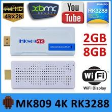 New Arrival MK809 4K TV Dongle Built In Wifi Latest Kodi Pre-installed 2GB/8GB Support H.265 Hardware Decoding RK3288 Mini PC