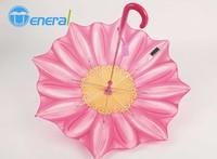 beautiful unique design flower shape print straight kid umbrella