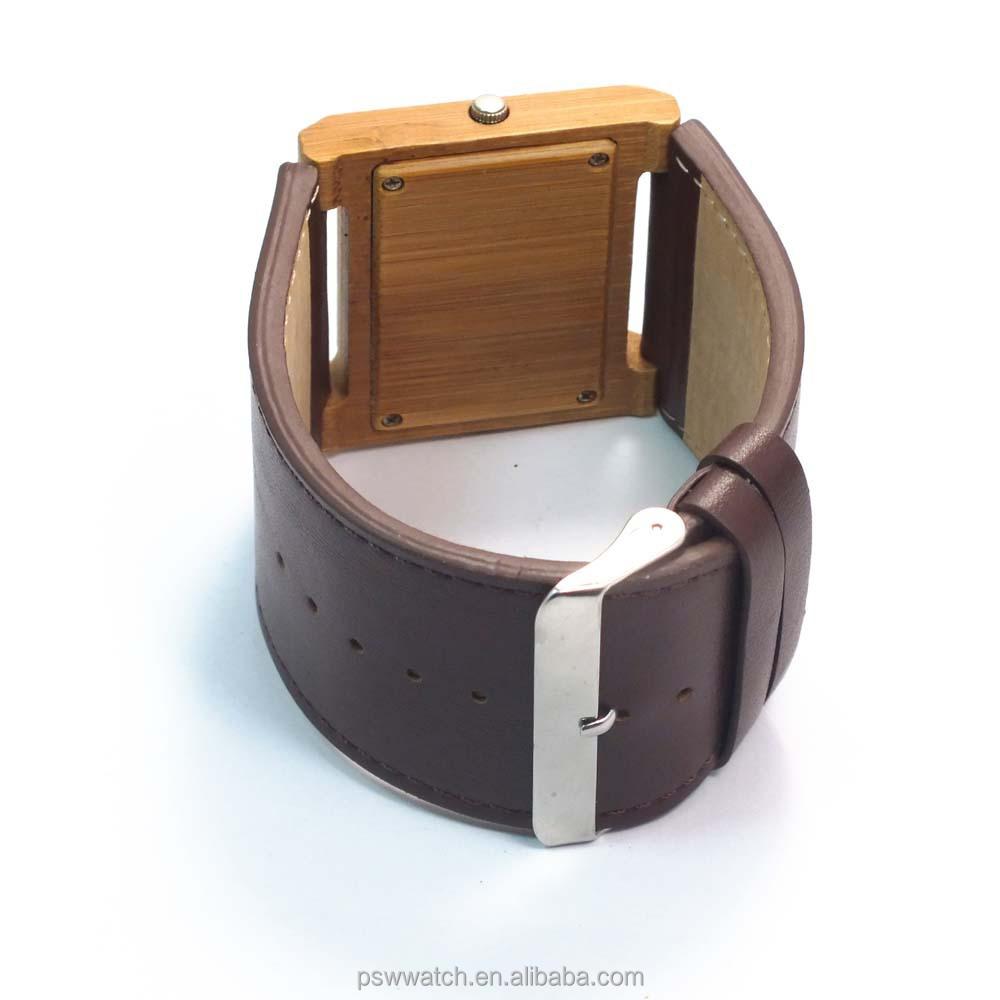 custom wood square bamboo watch wood watch big strap leather men wood watch