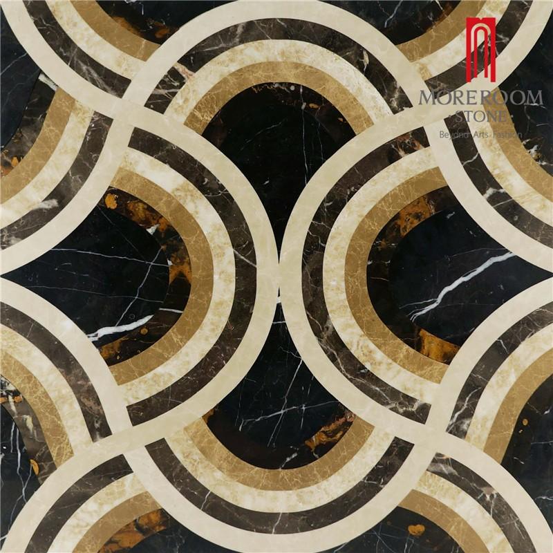 Moreroom Stone Italy Portopo Gold Marble Nero Margiua Black Marble Turkish Beige Marble Flooring Tiles Water Jet Medallion Floor Design Polished Marble Backed Ceramic Tiles.jpg
