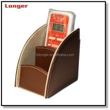 2015 stitching PU leather storage box remote control holder desktop organizer