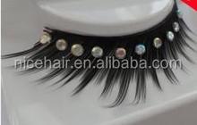 Hot sale synthetic false eyelash with diamond Synthetic fiber lashes with Rhinestone
