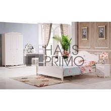 Madera sólido blanco conjunto de muebles de dormitorio