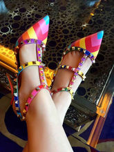 New style fashion high heel studded shoes women 2015