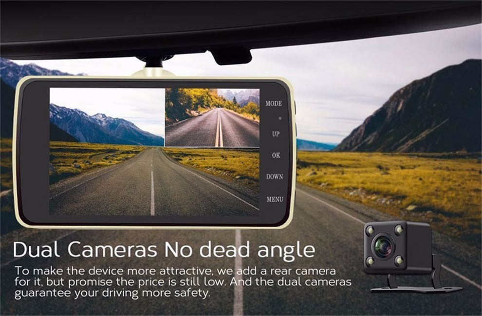 4.0 pouce Meilleur Dash Cam 1296 P Double Lentille avec LDWS ADAS Arrière vue caméra