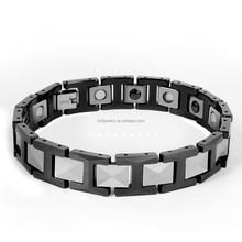 Top Quality Black Stainless Steel Bracelets Mens Magnetic Bracelet For 2015