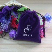 High quality promotional customized jewellery velvet pouch purple color