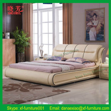 Promotion white leather diomand wood double bed designs with box (XFL-8006)