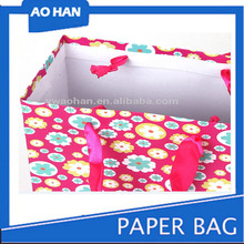 flower dot paper gift bag for gift, most popular europe product silk gift bags