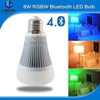 Led dimmable bluetooth E27 8W RGBW Bulb + Wireless Remote + Smart Wifi iOS /Android APP bluetooth smartphone control