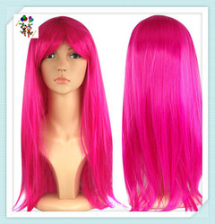 Girls Long Straight Hot Pink Sexy Synthetic Carnival Party Wigs HPC-1932