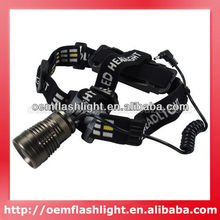 New Cree XM-L U2 5-Mode 1200 Lumens Zoom Headlamp/ Flashlight with Charger and Mount (1 x 18650)