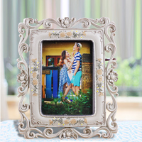 2015 new Promotion polyresin grey vintage style hot sale 3D effect college decoration wedding photo frame 0.55kg 5x7 inch