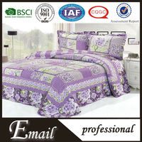 Purple Luxury big flower printed patchwork microfiber quilt