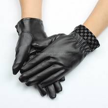 black winter women's car driving leather gloves/cycling gloves