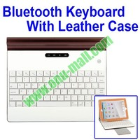 Metal Bluetooth Wireless Laptop Keyboard Leather Case with A Power Bank for iPad 2, for New iPad and for iPad 4