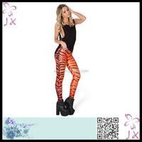 Glossy spandex digital print leggings compression tights with tiger stripe JXWL-0248
