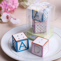Baby shower favor party gift and giveaways--New Baby on the Block (letter A B C D)Salt Pepper Shakers 100pcs/lot