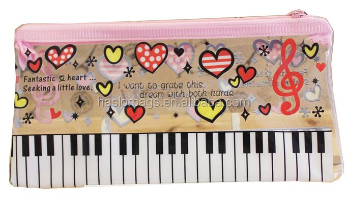 Piano impression sac de crayon / pas cher en plastique Pnecil avec fermeture éclair pour Promotion