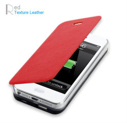 Leather cover battery charger for iPhone 5 with high quality 1900mAh