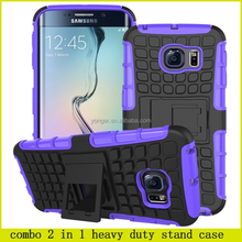 2015 latest combo 2 in 1 heavy duty stand case shockproof for samsung galaxy s6 edge , for samsung s6 edge shockproof case