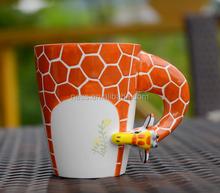 NSM0058 Ceramic hand painted 3D giraffe coffee mug for wholesale