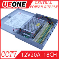 CE RoHS approved 18 channel constant voltage 250W 20A 12 volt power supply for CCTV camera