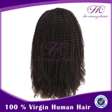 Chinese promotional items spring natural virgin jerry kinky curl full lace wig