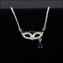 Stering Silver Crystal Cluster Mask Pendant Necklace Glittering Blue Charm Drop