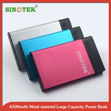 SINOTEK 6500 mAh Aluminum alloy case battery bank innovative products for children , lady, man,import