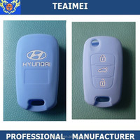 Fancy colorful blue remote silicone car key cover for HYUNDAI