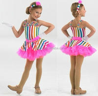 New arrivel ! MB1043 Rainbow glitter confetti ballet party dress /dance costume for child