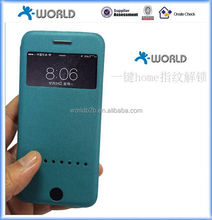 Home button fingerprint recognize leather cell phone case for iphone 6