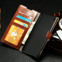 Genuine Leather Wallet Case for sony Z4/Z3 ,Flip Leather Case For Z4 With Card Slot